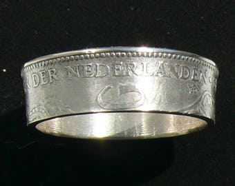 Silver Coin Ring 1929 The Netherlands 1 Gulden, Double Sided and Ring Size 12.