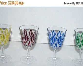 on sale retro glass cordials  set of 4  cut glass  cordials  multicolor glassware  stemware