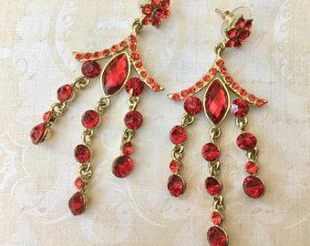 "Pretty Dangling Earrings with Crimson ""Jewels"""