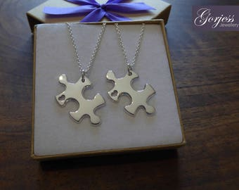 Two Silver Puzzle Necklaces Pendants with Hearts