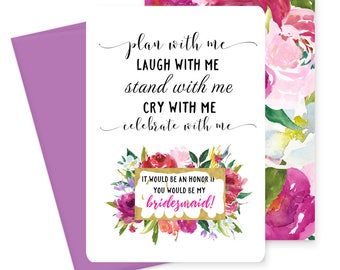 Floral Will You Be My Bridesmaid Card - Scratch off - Stand with Me - Wedding Party - Stationery - Invite to Ask Maid of Honor