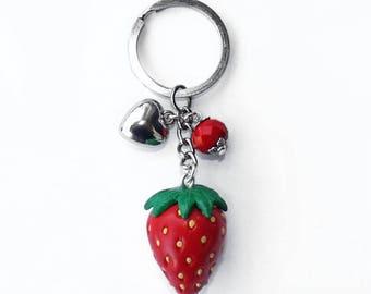 Hand made Fimo Strawberry key Chain