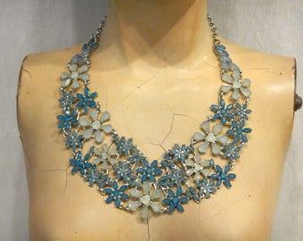 Blue Flower Statement Bib Necklace Collar Choker Daisy Acrylic Crystals Silver Tone Metal