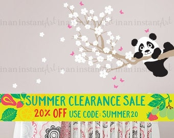 Cherry Blossom Wall Decal with Panda and Butterflies | Custom Nursery, Children's Room Interior Design | Easy Squeegee Application 027