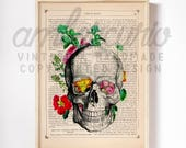 Skull Garden Victorian Era Inspired Anatomy Collage Print on an Unframed Upcycled Bookpage
