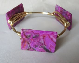 "Pink Crazy Lace Agate Rectangle Stone Bangle Bracelets ""Bourbon and Bowties"" Inspired"