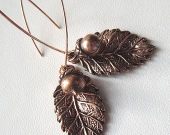 Rosy Copper Tanoak and Acorn Earrings with Long Earwires