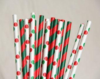 Polka Dots And Striped Mix Paper Straws/Christmas Party Straws/Wedding/Party Decor/Cake Pop Sticks/Mason Jar Straws/Party Supplies