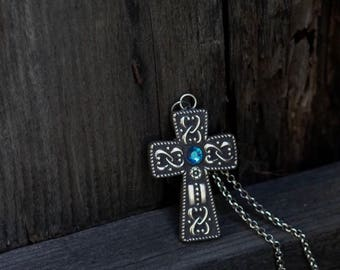 Mosaic Cross Necklace Pendant