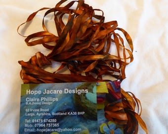 5 x 2m hand dyed silk embroidery ribbons 4mm wide - SER06