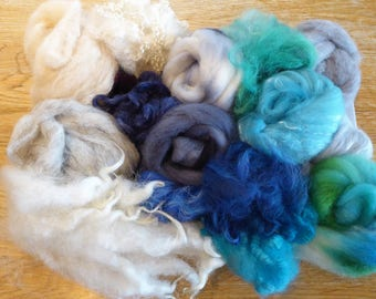 Hope Jacare - Mixed wool pack- custom blended top -  115g hand dyed top and fleece  - MWP04