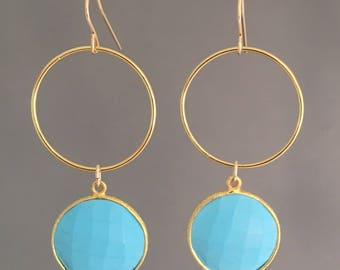 Big Turquoise Coin Gold Earrings