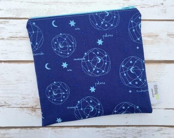 Reusable Snack Bag ~ Sandwich Size ~ Reusable Lunch Bag ~ Eco Friendly ~ Water Resistant ~ Zipper Pouch in Constellations Blue