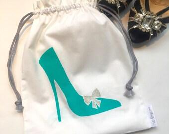 Aqua Green Shoe Drawstring Travel bag