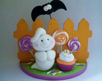 Halloween Party - Ghost - Bat - Polymer Clay - Halloween - Figurine