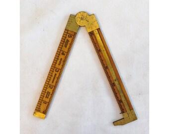 """Folding Ruler Caliper 12"""" Lufkin 372R Boxwood Brass Made in England"""