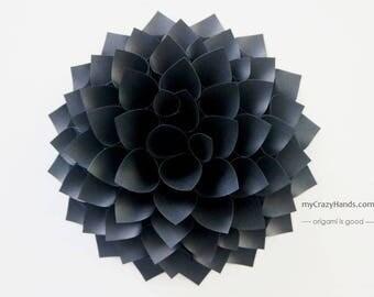 texture paper dahlia | 9'' dahlia wall decor  | origami gift || wedding flower || | black flower backdrop -texture black