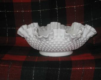 Gorgeous Large Milk Glass Hobnail Bowl - Excellent Condition - Vintage Milk Glass Art Glass