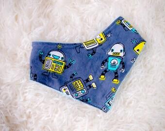 Robot Bandanna Set, Boys Bandanna Set, Bandanna Bib, Boys Baby Gift Set, Baby shower gift, bandanna bib boy, robot bib set, robot baby