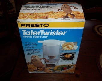 Vintage Presto TaterTwister Electric Fry Cutter with Extra Cutters~French Fry/Curly, Spirals, Medium Spiral, Chip/Ribbon/Shoe String Cutters
