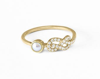 Pearl Engagement Ring, Original Infinity Knot Ring, 14K/18K Gold Ring, Natural Pearl Ring, Cluster Ring, Pave Diamond Ring