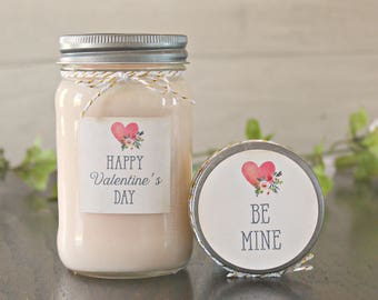 Valentines Day Candle Candle / Personalized Valentines Day Gift / 16 oz. Soy Candle / Happy Valentines Day / Be Mine