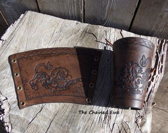 Leather Arm Bracer, Lion, Matched Pair