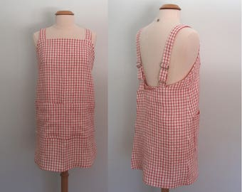 Red Gingham Apron, Linen Wrap Apron Dress, Pinafore, Flax Japanese Apron, Garden Apron, Artist Apron, Yarn Dyed Linen, Adjustable