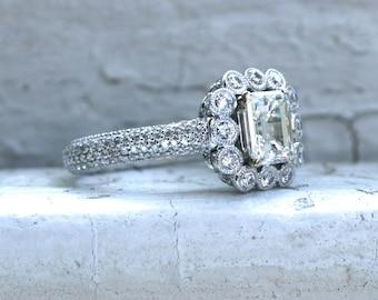 Beautiful Vintage 18K White Gold Diamond and Emerald Cut Diamond Halo Ring - 2.20ct.