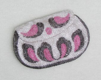 Vintage beaded clutch purse, 1930's small beaded bag made in France, tiny evening bag with pink and grey beads