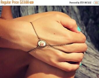 VACATION SALE pink rose slave bracelet, hand chain, bracelet ring, slave ring, flower ring, boho bracelet, ring bracelet