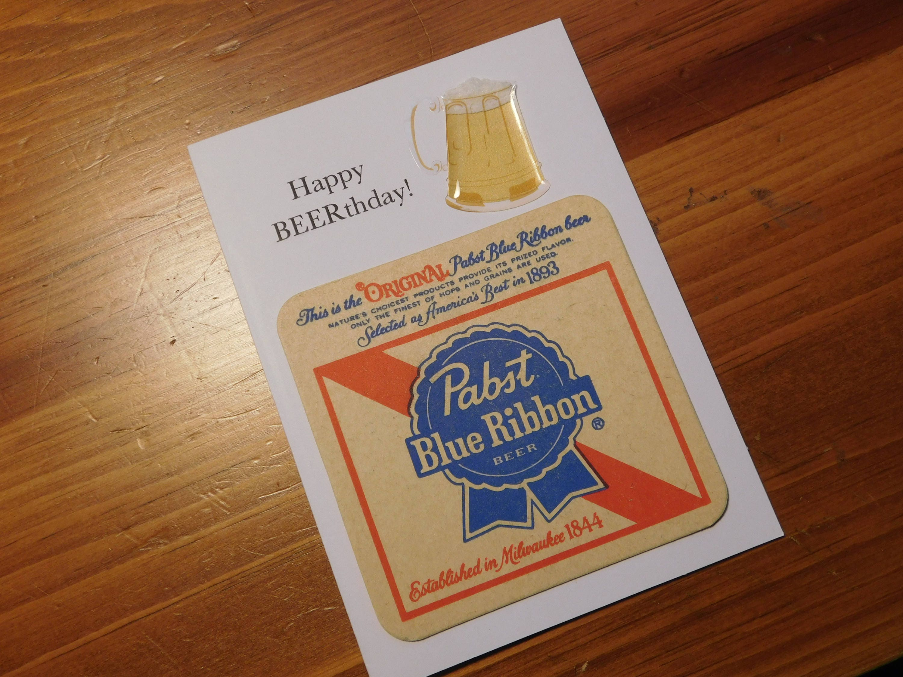 Happy Birthday Beer Birthday Card Handmade Greeting Card