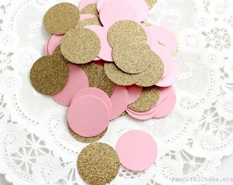 50 Gold Glitter and Pink Circle Paper Confetti 1 inch - Wedding, Bridal Shower, Baby Shower, Birthday, confetti table decoration