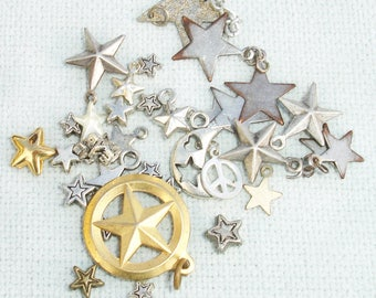 Mixed Star Charm and Bead Lot - 32 pcs -  Jewelry Making Supplies