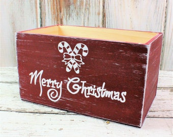 Christmas Card Holder Farmhouse Storage Crate For Mail Cards Personalized