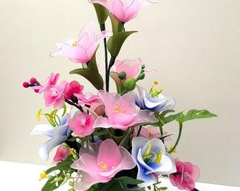 Nylon Flowers Décor, Wedding Décor, Nylon Flower, Handmade Flowers, Unique Gift Idea, Handmade Nylon Flower Arrangement, Flowers for Girl