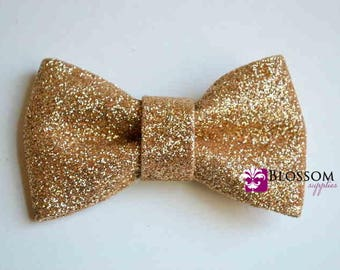 GOLD - The Eva Collection - Glitter Bows -  DIY Bow Headband - Holiday Wedding Bridal Bows - Sparkle Shimmer Blossom Supplies Wholesale