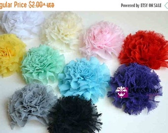 ON SALE Debra Collection - Frayed Petti Puff Flowers - U Pick Colors - Chiffon - diy Flower Headband - Fabric Flowers Blossoms - Blossom Sup