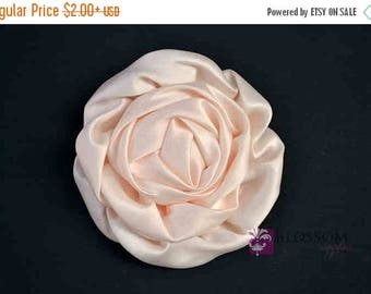 ON SALE BLUSH Flowers - The Elizabeth Collection - Large Satin Ruffled Rolled Rossettes - Diy Flower Headbands - Peachy Pink Wedding Supplie