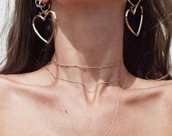 ON SALE Gold /Silver heart hoop earrings - Geo circle - small + large open heart earrings