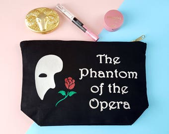 Phantom Of The Opera Make Up Bag, Mask Rose Sparkly Cosmetics Case