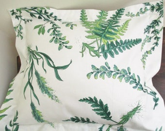 """Custom botanical cushion cover, green and white vintage cotton botanical, 16"""" x 16"""" with a 14"""" x 14"""" pillow form,  new condition"""