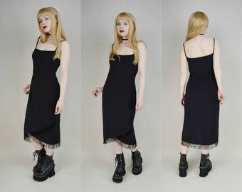 90s Black Sequin Fringe Trim Flapper Midi Dress S / M