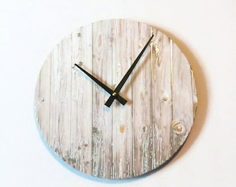 Wall Clock, Faux Distressed Wood, Silver Foil, Eco Home Decor, Unique Wall Clocks, Home and Living, Home Decor, Decor and Housewares