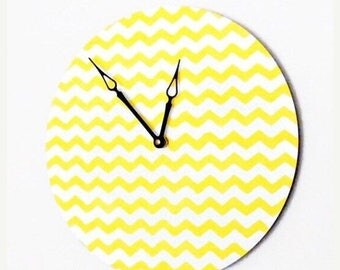 Clock, Wall Clocks, White and Yellow Chevron, Home Decor, Decor and Housewares,  Home and Living