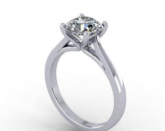 7.5mm Round Moissanite Engagement ring, White Gold  style 203WM