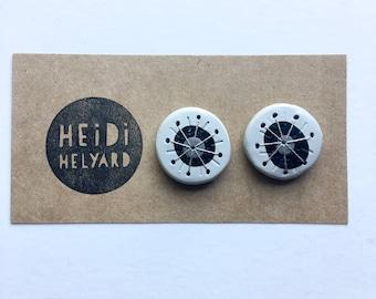 WEIRDLINGS polymer clay earrings studs black