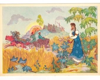 Soviet songs illustration by Palekh artists, Vintage Soviet postcard (1969), artist A. Gordeyev