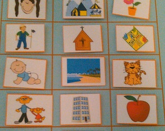 Busy Book Page, Nouns, Velcro / Quiet Book Page - Busy Books, Quiet Books / Velcro Learning, Laminated / Kids Educational, Preschool/Toddler