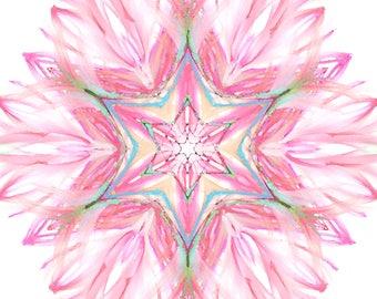 Maguen david flower-watercolor- David star-handpainted-judaica art- Mandala- print on paper-poster-wall hanging-customizable
